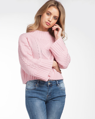 You're Trouble Cropped Sweater Pink