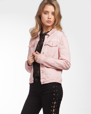 Sweetie Denim Fitted Jacket Pink
